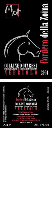 """Compro Vino Nebbiolo Cordero della Zoina """"Mot"""" – 2004"""