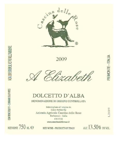 "Compro Vino Dolcetto d'Alba ""A Elizabeth"" DOC 2009"