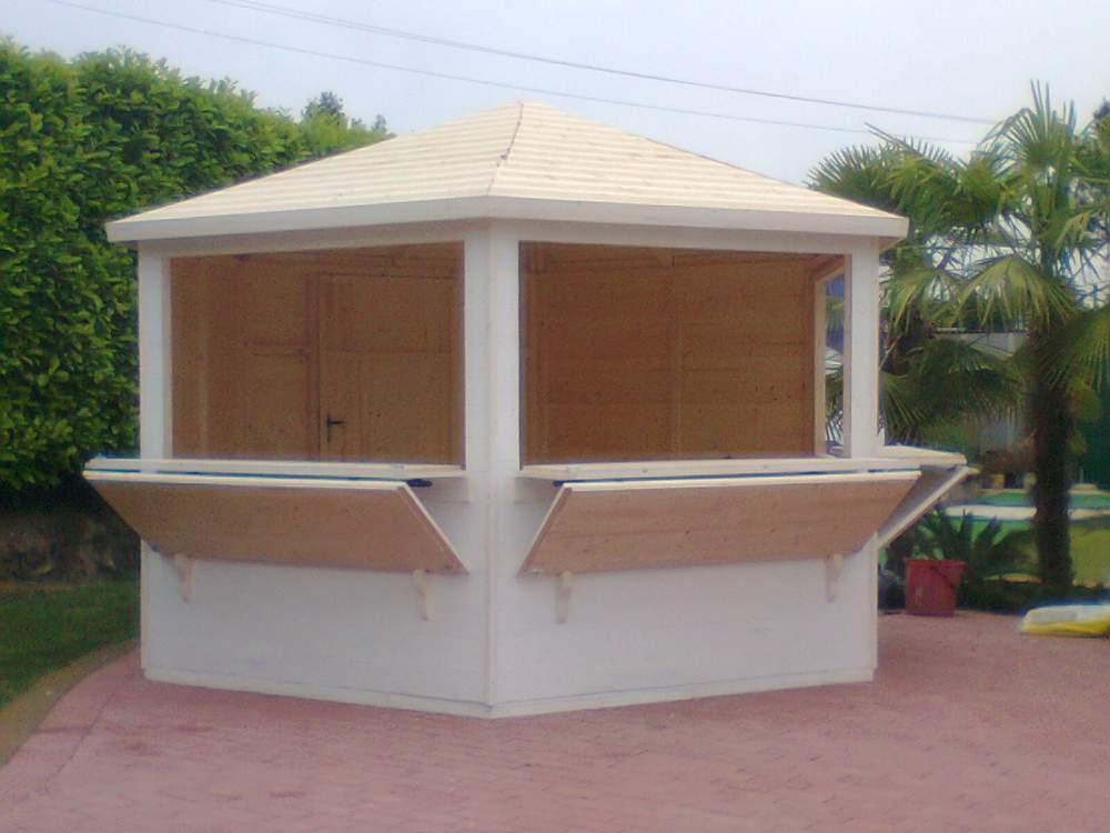 Compro Chiosco in legno esagonale a pannelli d.400 - 3 aperture - 20mm