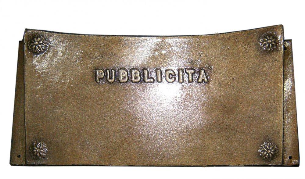 Cassetta porta pubblicità ottone