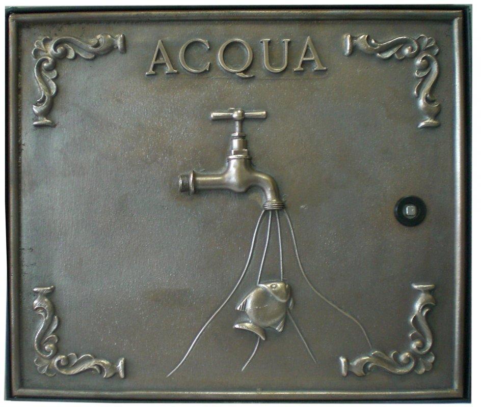Sportello contatore Acqua in fusione di ottone. Dimensioni L 38 H25 x cm