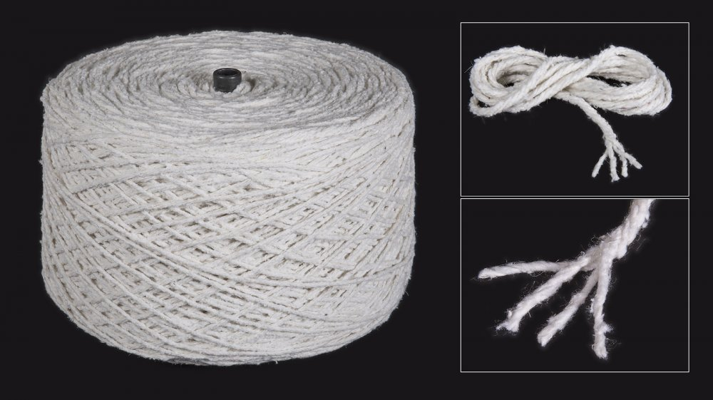 CARDATO yarn, half white, twisted 4 ply, two wicks, T1200