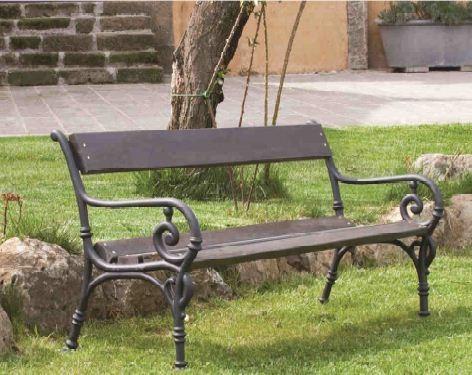 Panchina Mod. Vienna in ghisa e legno iroko  cm 160