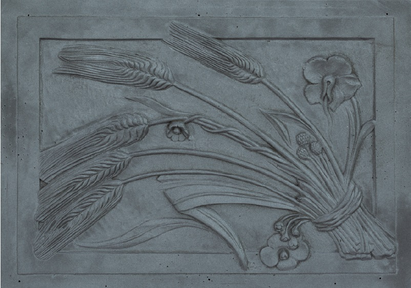 Lastra,piastra,piana per camino in ghisa figurata Mod. Spiga 52x73 cm cod. LB-036