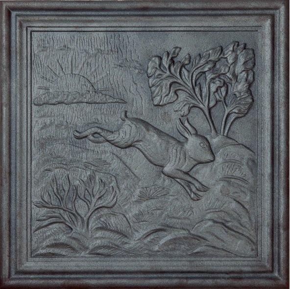 Acquistare Lastra,piastra,piana, per camino in ghisa MOd. Coniglio 50x50 cm cod. lb-033
