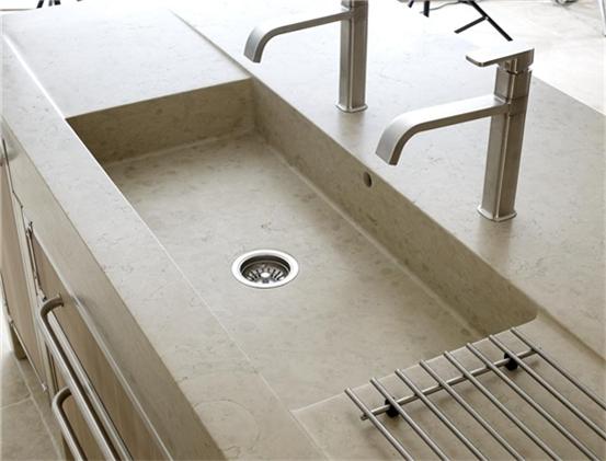 lavandino lavello lavabo cucina in pietra travertino chiaro. tre ...
