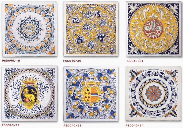piastrelle di ceramica decorate a mano