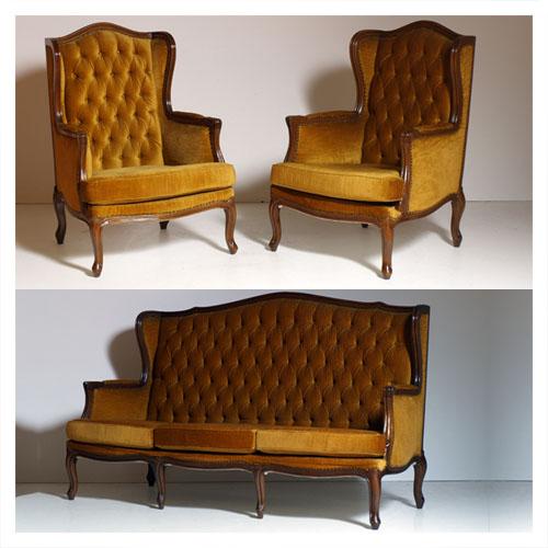 Mobile antico stile inglese restaurato divano due poltrone bergère ...