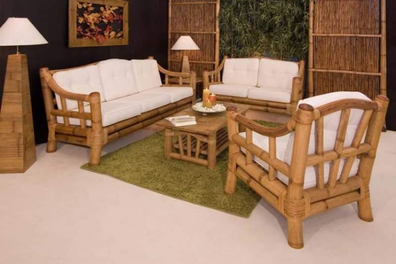 Salotto In Bamboo.Salotto Modello Kona In Bamboo Miele Antico Con Tavolo