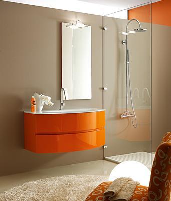 per bagno, colore arancio laccato — Comprare Mobiletto per bagno ...