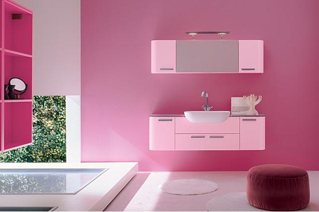 mobili per stanza da bagno colore rosa