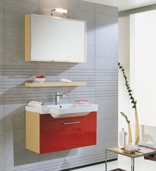 Arredo bagno in rosso e bianco laccato — comprare arredo bagno in ...