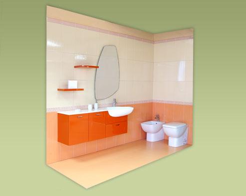 Piastrelle arancioni stunning perfect stanza da bagno nei colori