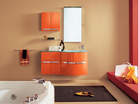 arredo bagno moderno, colore arancio laccato for sale in ciampino ... - Arredo Bagno Ciampino