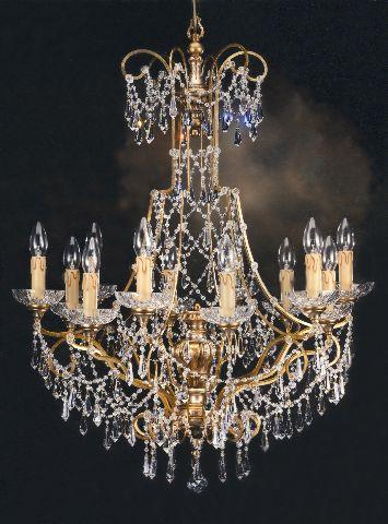 Ladario in cristallo swarovski struttura in ferro battuto e legno