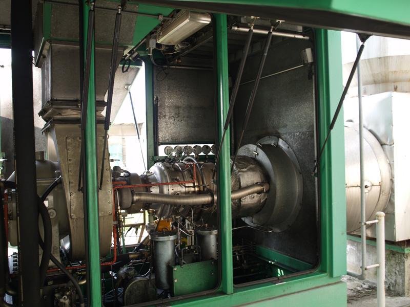 Turbina a gas Solar Turbine model. Saturn T 1500 Turbine Engine. Generatore di energia elettrica e di Vapore