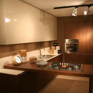 Cucina componibile moderna noce canaletto e corda lucido con ...