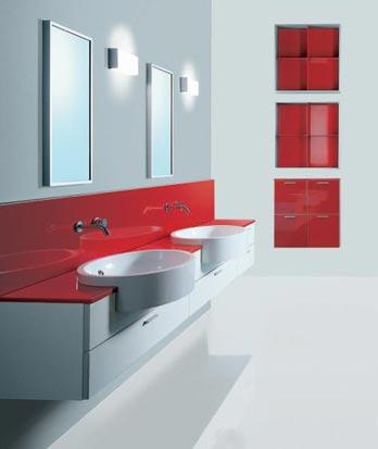 Arredo bagno rosso laccato e bianco — comprare arredo bagno rosso ...