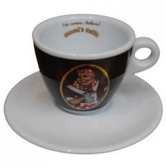 Tazza da caffé cappuccino con logo nero