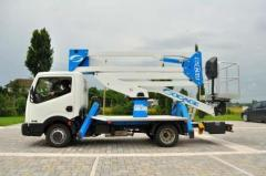 Double articulated truck mounted aerial platform