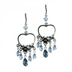 Earrings with Floral Heart and Blue Drops