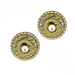 Earrings with Button of White Crystals