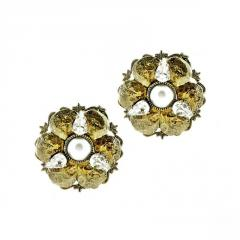 Earrings with Floral Decor Button and Crystals
