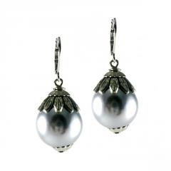 Earrings with Grey Pearl and Antique Metal Cap