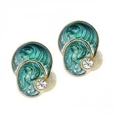 Earrings with Aquamarine Enamelled Parrot