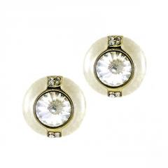 Earrings with Ivory Enamelled Button