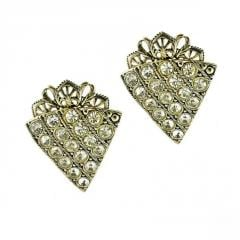 Earrings with White Crystals Pavè