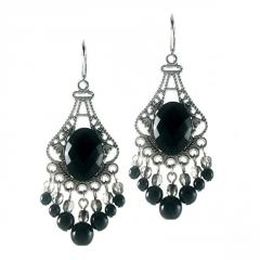 Earrings with Filigree and Cluster of Black Glass Pearls