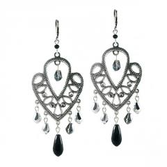Earrings with Antique Filigree and Black Crystal Drops