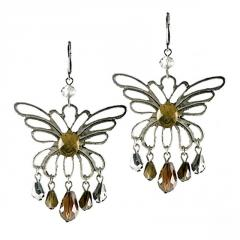 Earrings with Antique Butterfly and Topaz Drops
