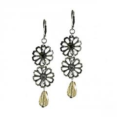 Earrings with Daisy and Crystal Drop