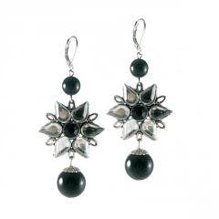 Earrings with Silver Flower and Black Pearls