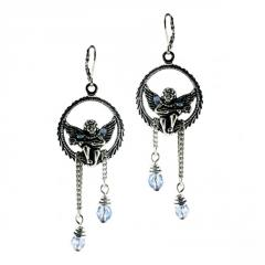 Earrings with Angel and Crystal Drops
