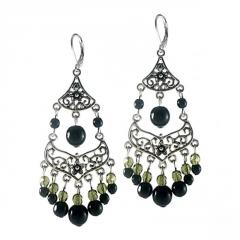 Earrings with Floral Filigree and Green and Black Crystals