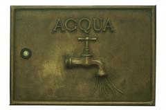 Sportello contatore acqua in fusione di ottone. Dimensioni L 38 H25