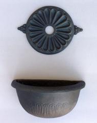 Fontana a parete con vasca verniciata colore grigio ghisa