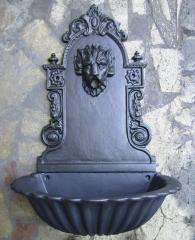 Fontana a muro Liberty Leone in alluminio con vasca modello petallo