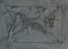 Lastra,piana, piastra per camino figurata Mod. Uva 51x72 cm Cod. lb-035