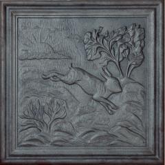 Lastra,piastra,piana, per camino in ghisa MOd. Coniglio 50x50 cm cod. lb-033