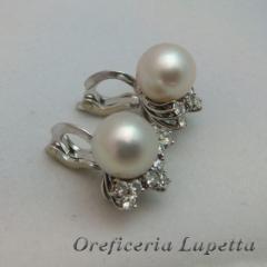 Orecchini d'occasione Perle e Brillanti
