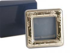 Portafoto in argento rfiniture celesti soggetto