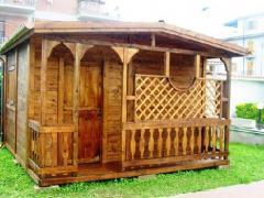 Casetta in legno, 4x3, piu' veranda base/pareti