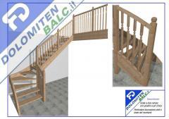 Scala a due rampe con gradini e pè d`oca,