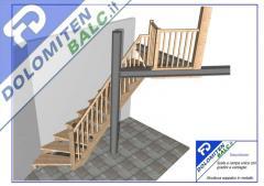 Scala a rampa unica con gradini a ventaglio,