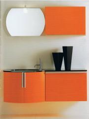Mobili da bagno, stile moderno, colore arancio