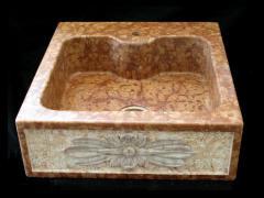 Lavello da cucina marmo rosso di Verona con fiore